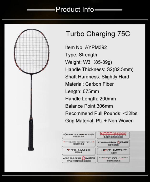 Vợt cầu lông Lining Turbo Charging 75C